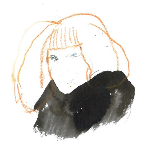 """""""Sonia Rikyel : la rousseur, le noir et le strass"""", encre et crayons, 2016"""