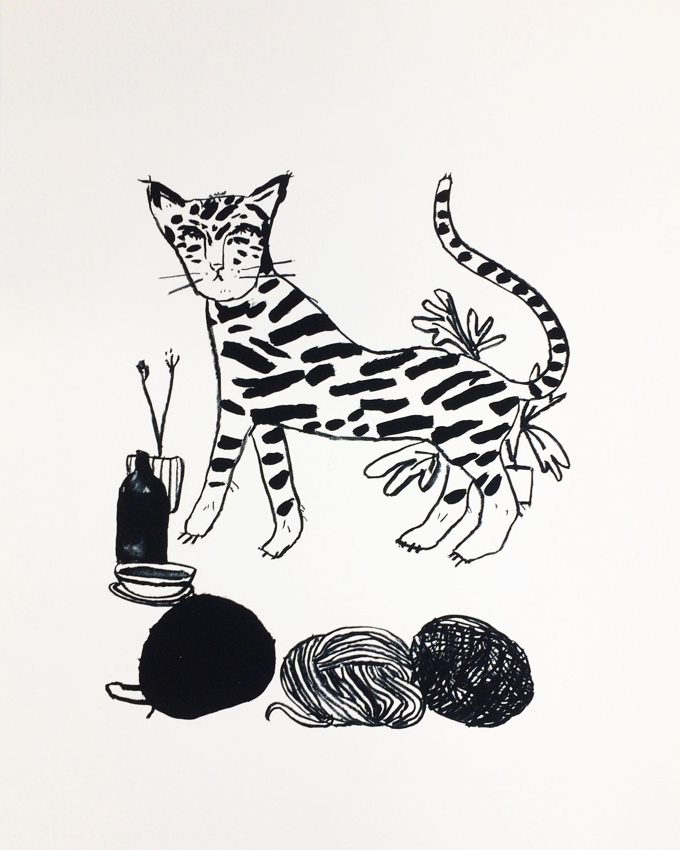 Le chat rayé, 56 x 76 cm