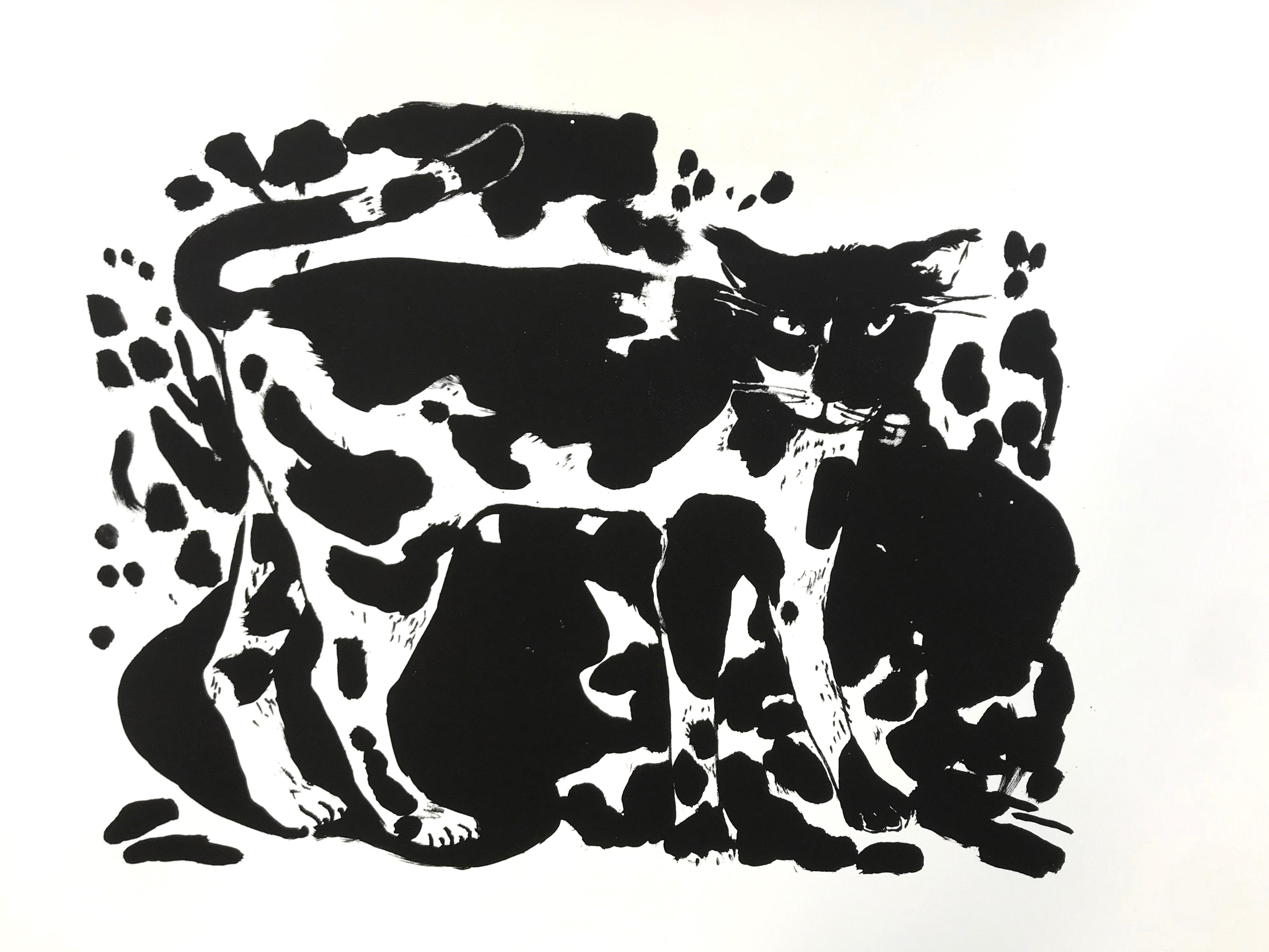 Le chat de la Glacière, lithographie, 76 x 56 cm ©louisemezel
